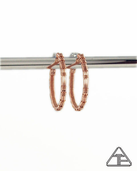 Rose Gold and Silver Wire Wrap Hoop Earrings