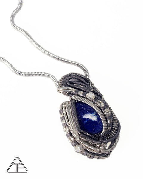 Lapis Lazuli Moonstone Titanium and Sterling Silver Wire Wrapped Pendant