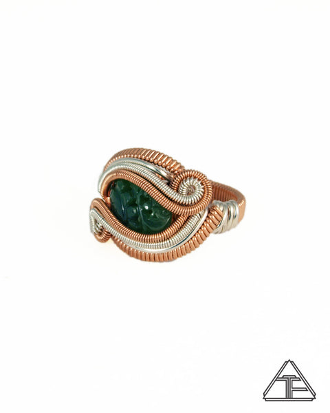 Size 8 - Jade Rose Gold and Silver Wire Wrapped Ring