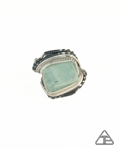 Size 10 - Aquamarine Titanium and Silver Wire Wrapped Ring