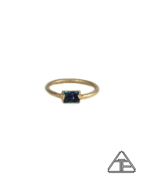 Size 4 - Blue Tourmaline Yellow Gold Crystal Talisman Ring