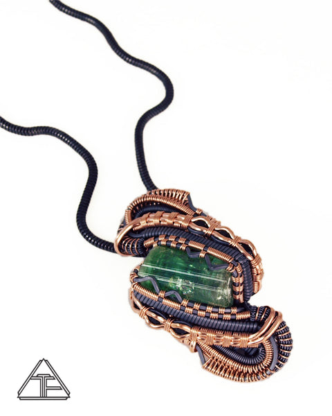 Tourmaline Rose Gold and Silver Wire Wrapped Pendant