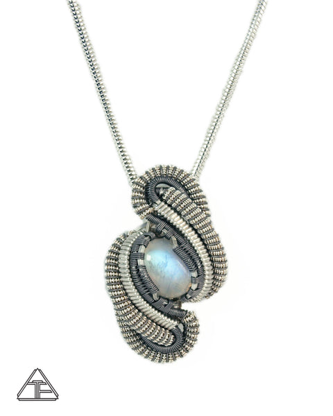 Moonstone Sterling Silver Titanium Wire Wrapped Pendant