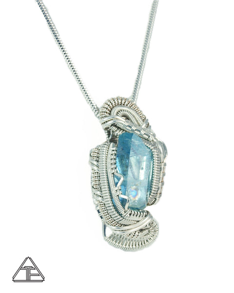 Aquamarine and Herkimer Sterling Silver Wire Wrapped Pendant