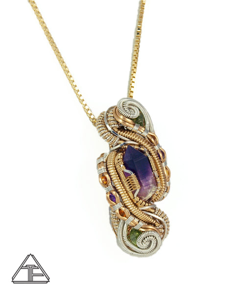 Amethyst Citrine Demantoid Garnet Yellow Gold and Silver Wire Wrapped Pendant
