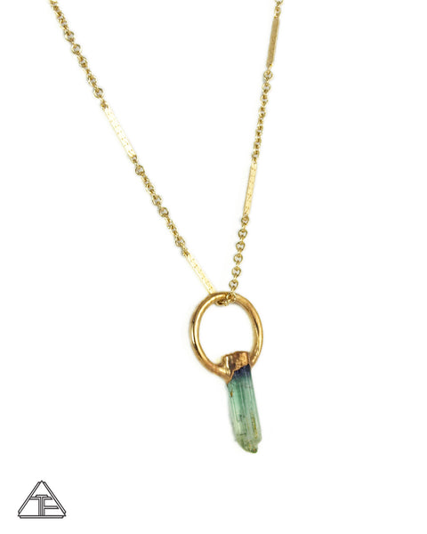 Light Green Tourmaline Small Yellow Gold Crystal Talisman Pendant