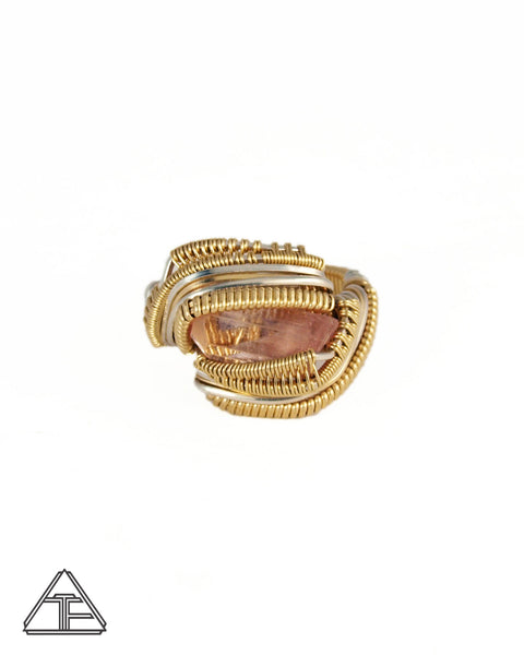 Size 7.5 - Pink Tourmaline Yellow Gold and Silver Wire Wrapped Ring