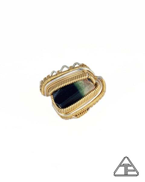 Size 11.5 - Stak Nala Tourmaline Yellow Gold and Silver Wire Wrapped Ring