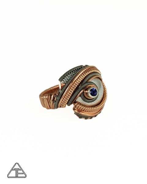 Size 9 - Tanzanite Silver and Rose Gold Wire Wrapped Ring