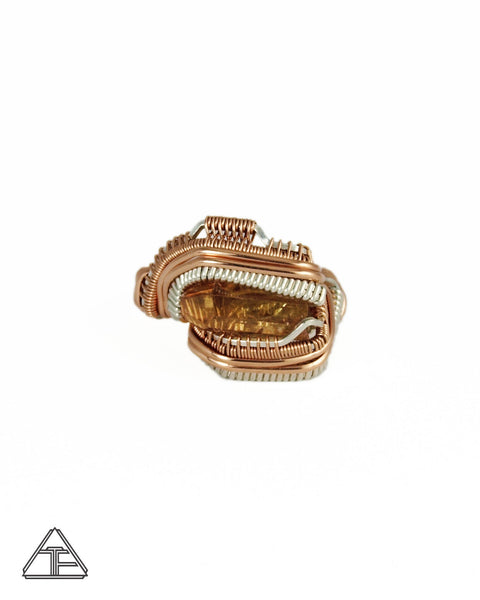 Size 8.5 - Coronel Murta Tourmaline Rose Gold and Silver Wire Wrapped Ring