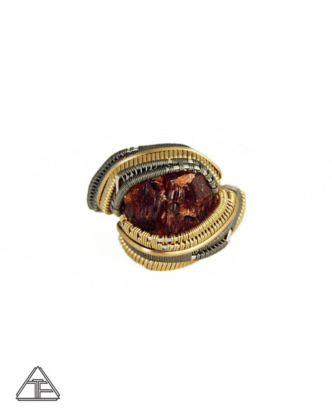 Size 11 - Spessartite Garnet Yellow Gold Titanium and Silver Wire Wrapped Ring
