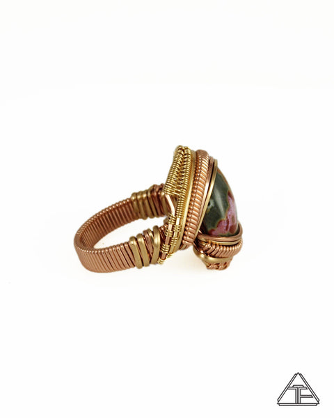 Size 10.5 - Ocean Jasper Rose and Yellow Gold Wire Wrapped Ring
