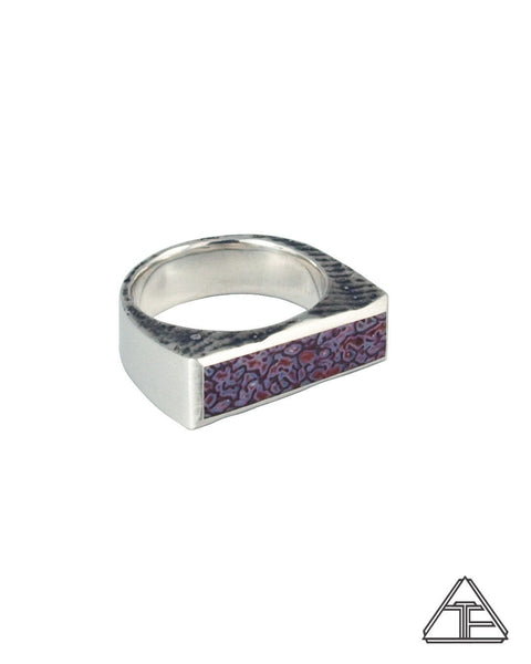 Signet Ring: Lavender-Rose Dinosaur Bone Inlay Ring