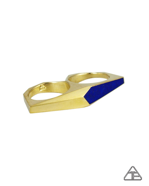 Signet Ring: Inlay Lapis Lazuli Brass Double Finger Ring