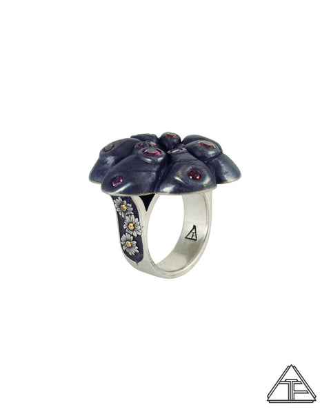 Garnet Psychedelic Peyote Cactus Flower Sterling Silver and Yellow Gold Ring
