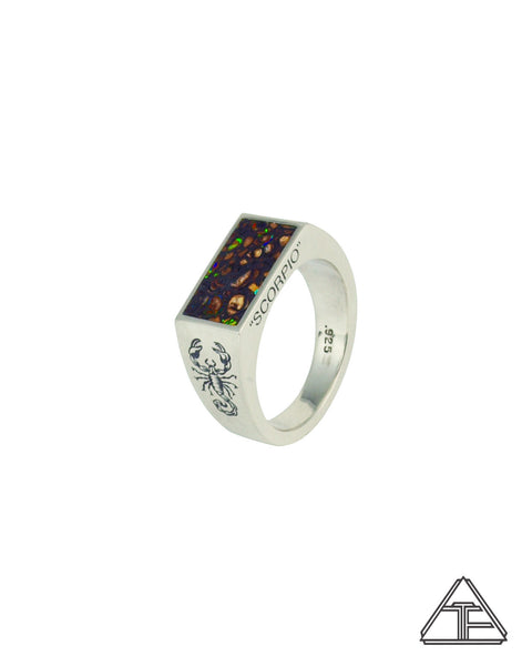 Astrology: Scorpio Boulder Opal Inlay Zodiac Signet Ring