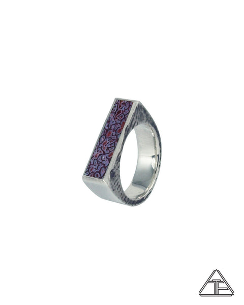 Lattice: Lavender-Rose Dinosaur Bone Inlay Ring
