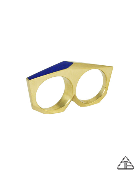 Lattice: Inlay Lapis Lazuli Brass Double Finger Ring