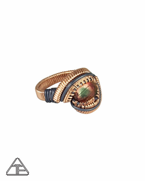 Size 6.5 - Reverse Watermelon Tourmaline Rose Gold and Silver Wire Wrapped Ring