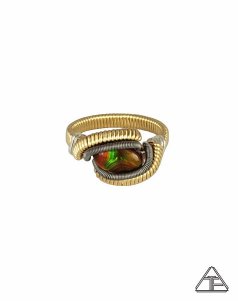 Size 6.5 - Fire Agate Yellow Gold and Titanium Wire Wrapped Ring