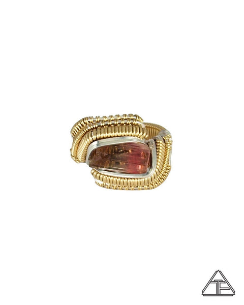 Size 6 - Multi-Color Tourmaline Yellow Gold and Silver Wire Wrapped Ring
