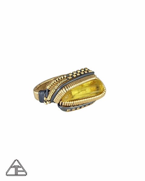 Size 9.5 - Heliodor Yellow Gold and Silver Wire Wrapped Ring