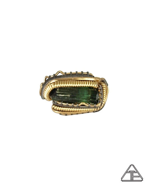 Size 8 - Tourmaline Yellow Gold and Titanium Wire Wrapped Ring