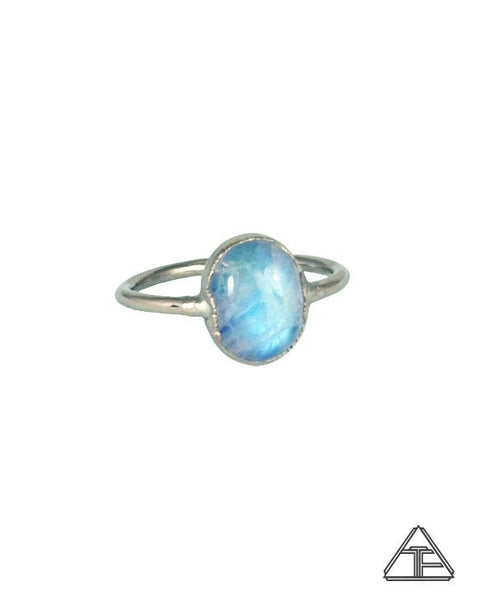Size 5.5 - Moonstone Palladium Crystal Talisman Ring