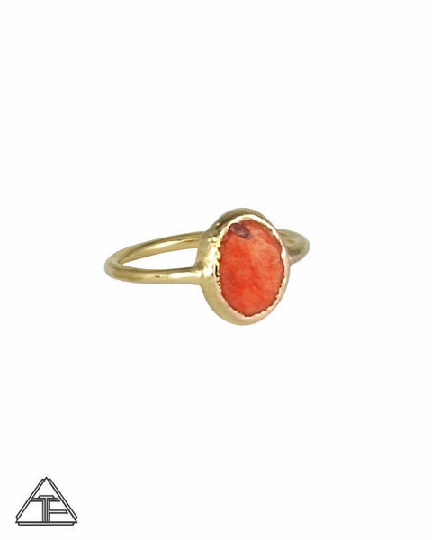 Size 5.5 - Coral Yellow Gold Crystal Talisman Ring