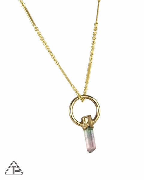 Pink/Green Tourmaline Small Yellow Gold Crystal Talisman Pendant