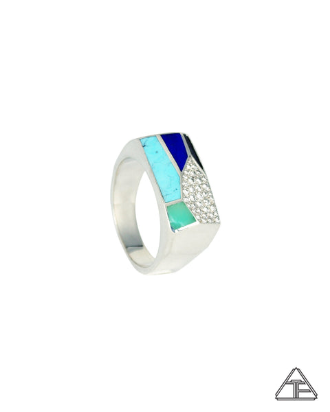 Prism Lattice: Inlay Turquoise Diamonds Sterling Silver Signet Ring