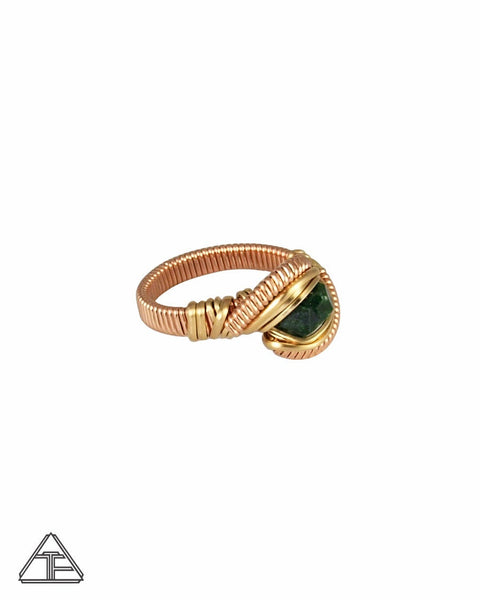 Size 5.5 - Demantoid Garnet Yellow Gold and Rose Gold Wire Wrapped Ring