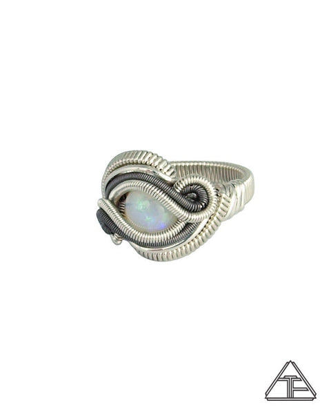 Size 6.5 - Opal Sterling Silver and Titanium Wire Wrapped Ring