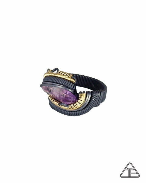 Size 6.5 - Amethyst Yellow Gold and Silver Wire Wrapped Ring