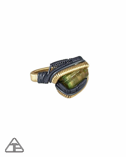 Size 9 - Watermelon Tourmaline Yellow Gold and Silver Wire Wrapped Ring