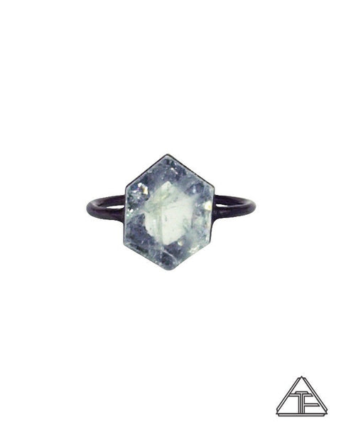 Size 8 - Aquamarine Black Rhodium Crystal Talisman Ring