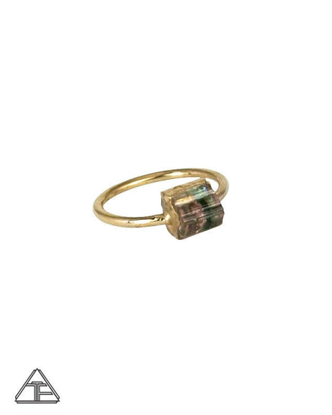 Size 4.5 - Bi-Color Tourmaline Yellow Gold Crystal Talisman Ring