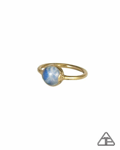 Size 3 - Moonstone Yellow Gold Crystal Talisman Ring