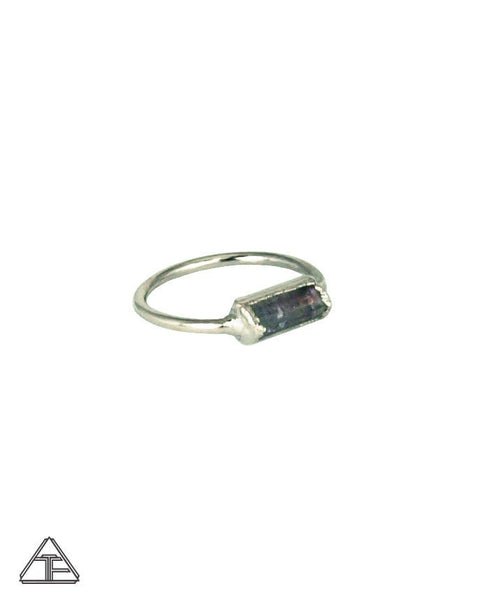 Size 5 - Bi-Color Tourmaline Palladium Crystal Talisman Ring