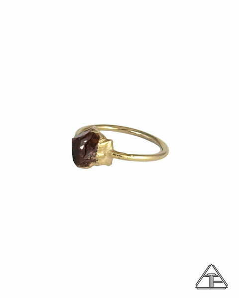 Size 6 - Vesper Peak Garnet Yellow Gold Crystal Talisman Ring
