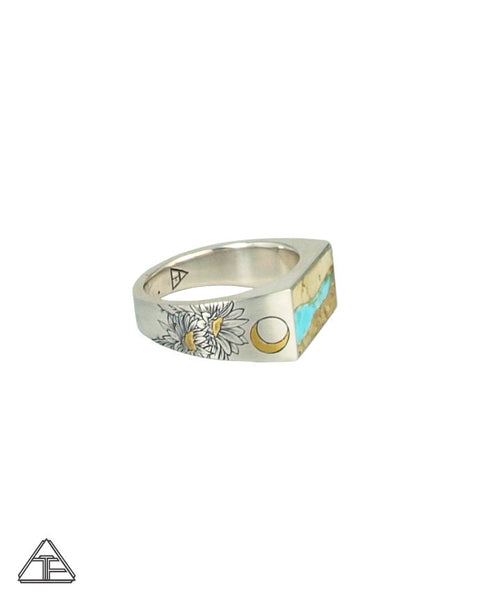 Lux Signet Ring: Inlay Turquoise Ribbon With Cactus Flower Engraving