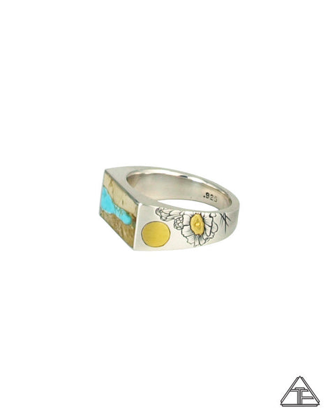 Signet Ring: Inlay Turquoise Ribbon With Cactus Flower Engraving