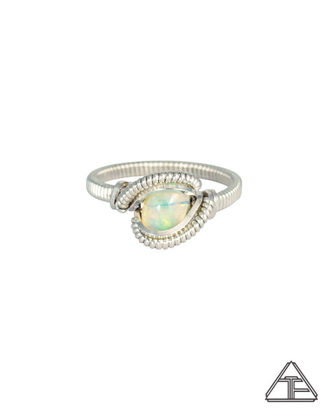 Size 5.5 - Opal Sterling Silver Wire Wrapped Ring