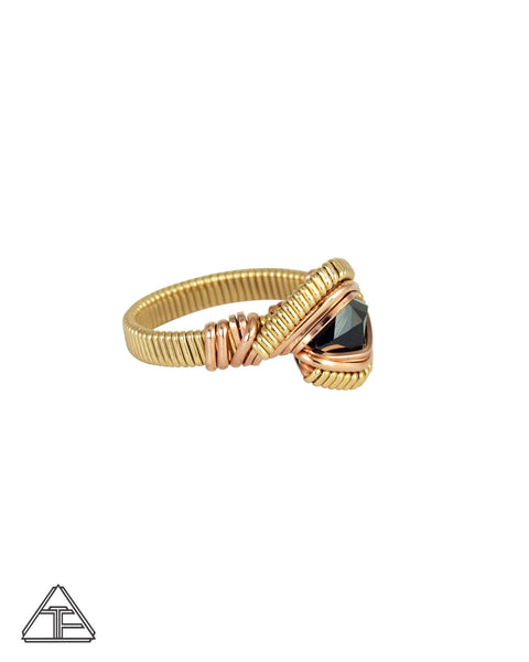 Size 6.5 - Tourmaline 14K Yellow Gold and Rose Gold Wire Wrapped Ring