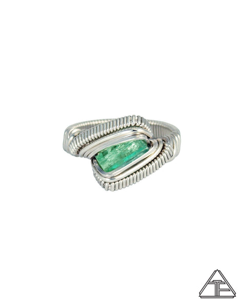 Size 7 - Emerald Sterling Silver Wire Wrapped Ring