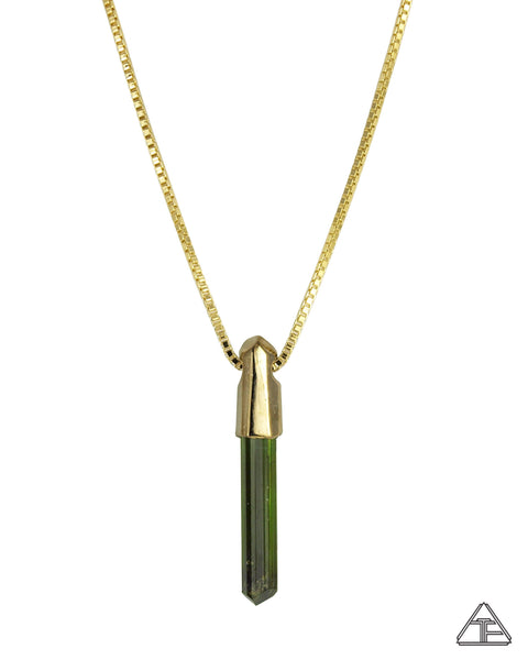 Green Tourmaline 14k Yellow Gold Crystal Talisman Pendant