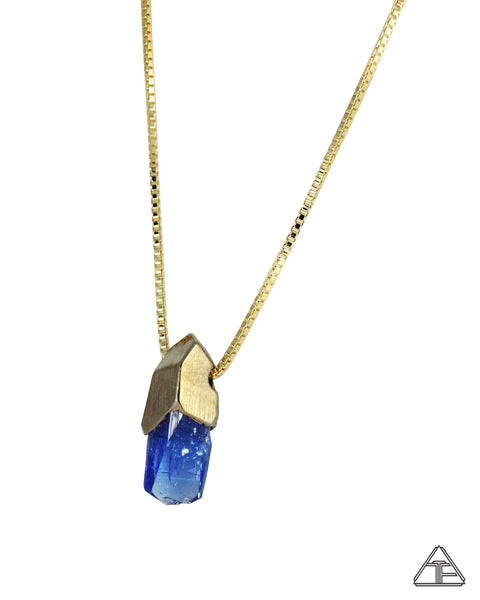 Tanzanite 14k Yellow Gold Crystal Talisman Pendant