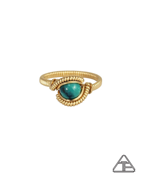 Size 6.5 - Turquoise 14K Yellow Gold Wire Wrapped Ring