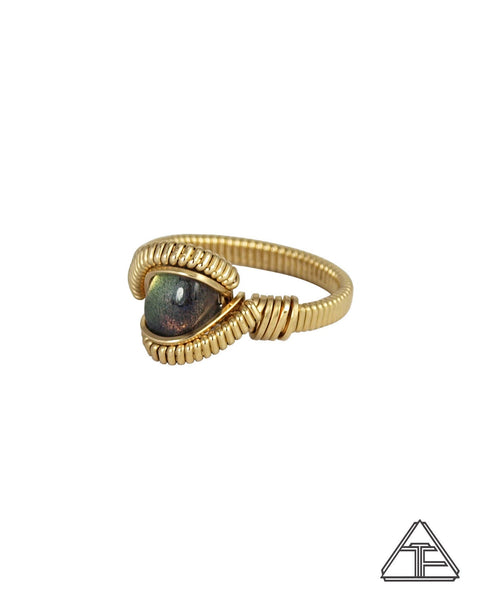 Size 6 - Labradorite 14K Yellow Gold Wire Wrapped Ring