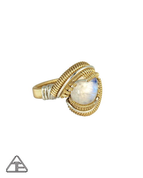 Size 8 - Moonstone 14K Yellow Gold and Sterling Silver Wire Wrapped Ring